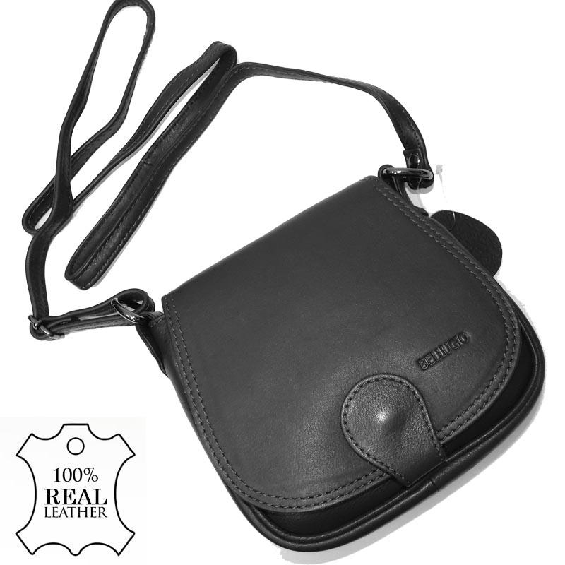 62b7164b4 Dámská kožená kabelka BELLUGIO přes rameno BLACK
