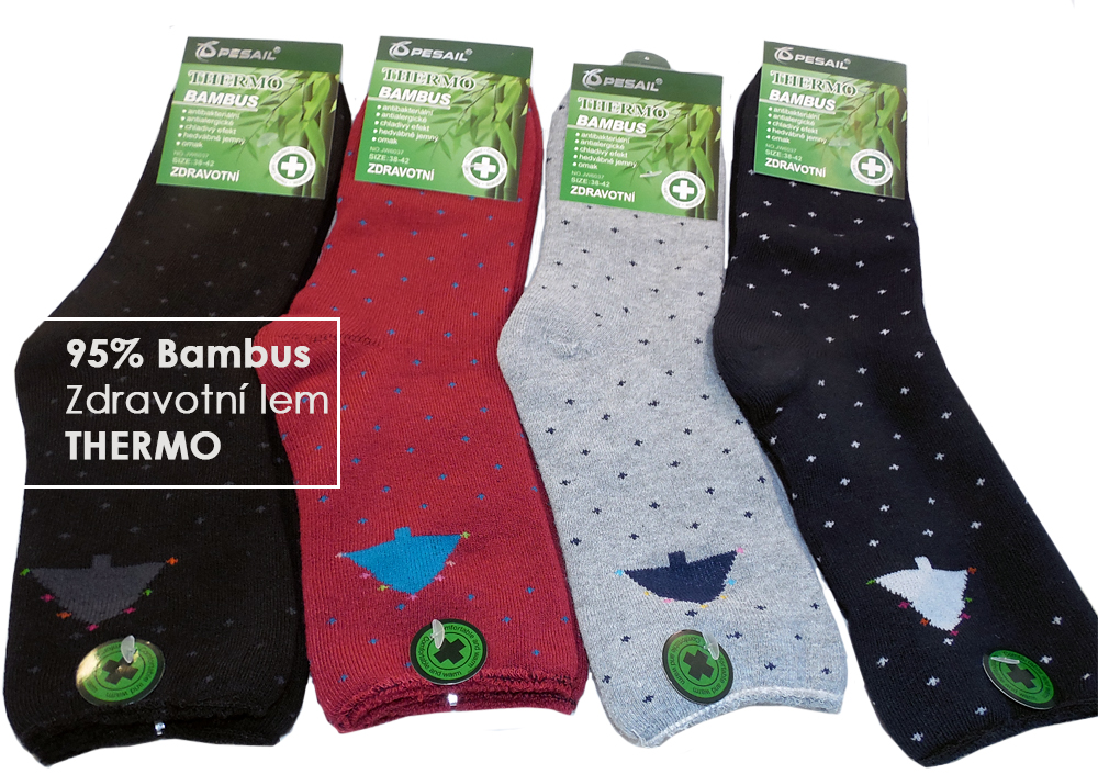 4 páry zdravotní funkční termo ponožky vysoké dámské 35-38 bambusové 626d4303d0