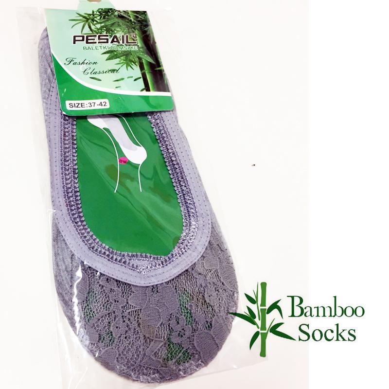 Bambus Balerínkové ponožky s krajkovou špičkou 37-42 šedé d2533df34a