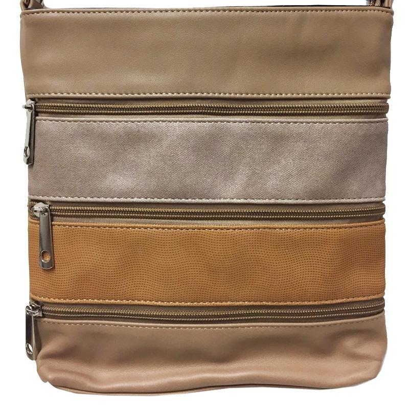 Crossbody kabelka s fuknčními kapsami a pruhy TAPPLE hnědá model 2 141a8d2445e