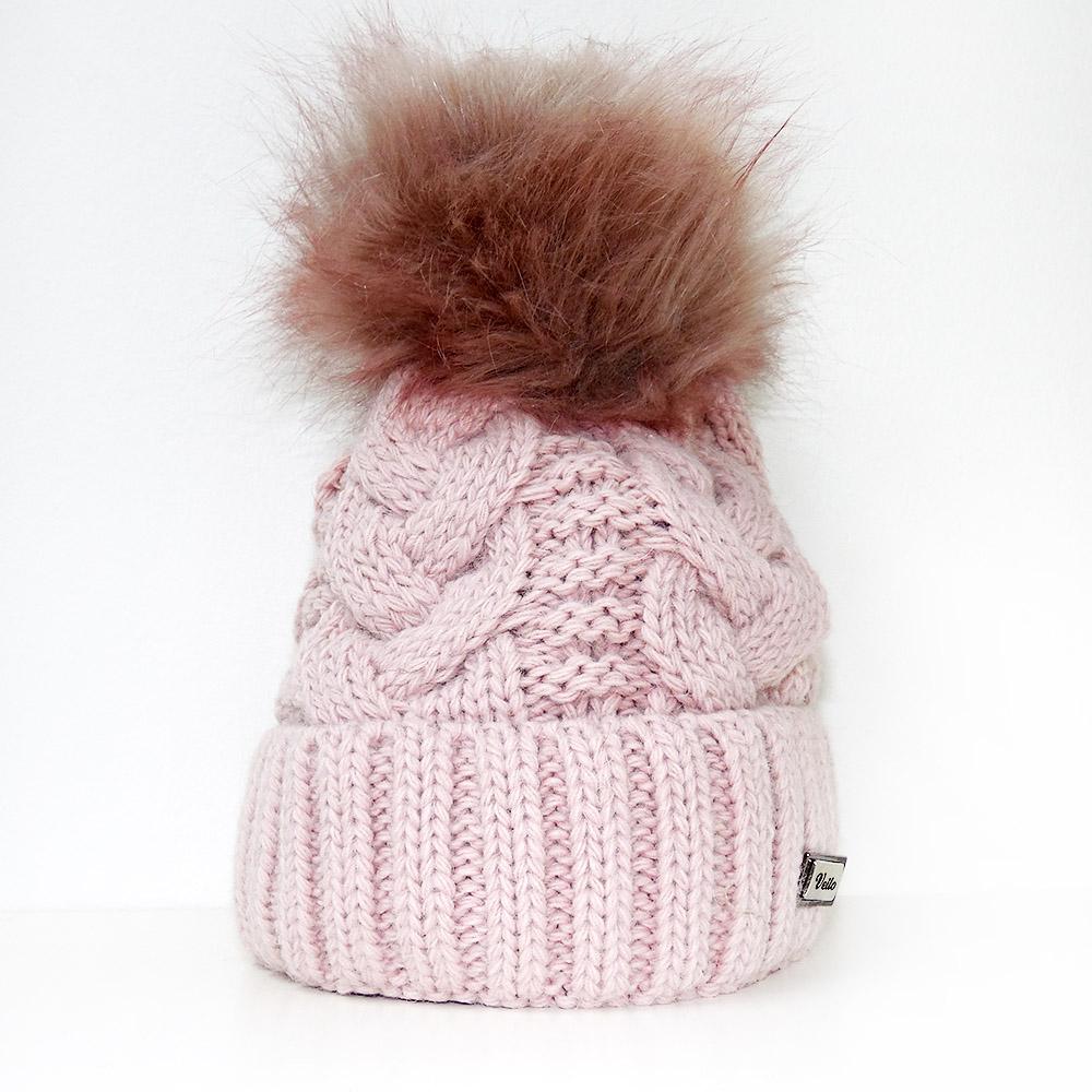 2530b6e0cd1 Pletené čepice s velkou chlupatou bambulí Veilo® růžová