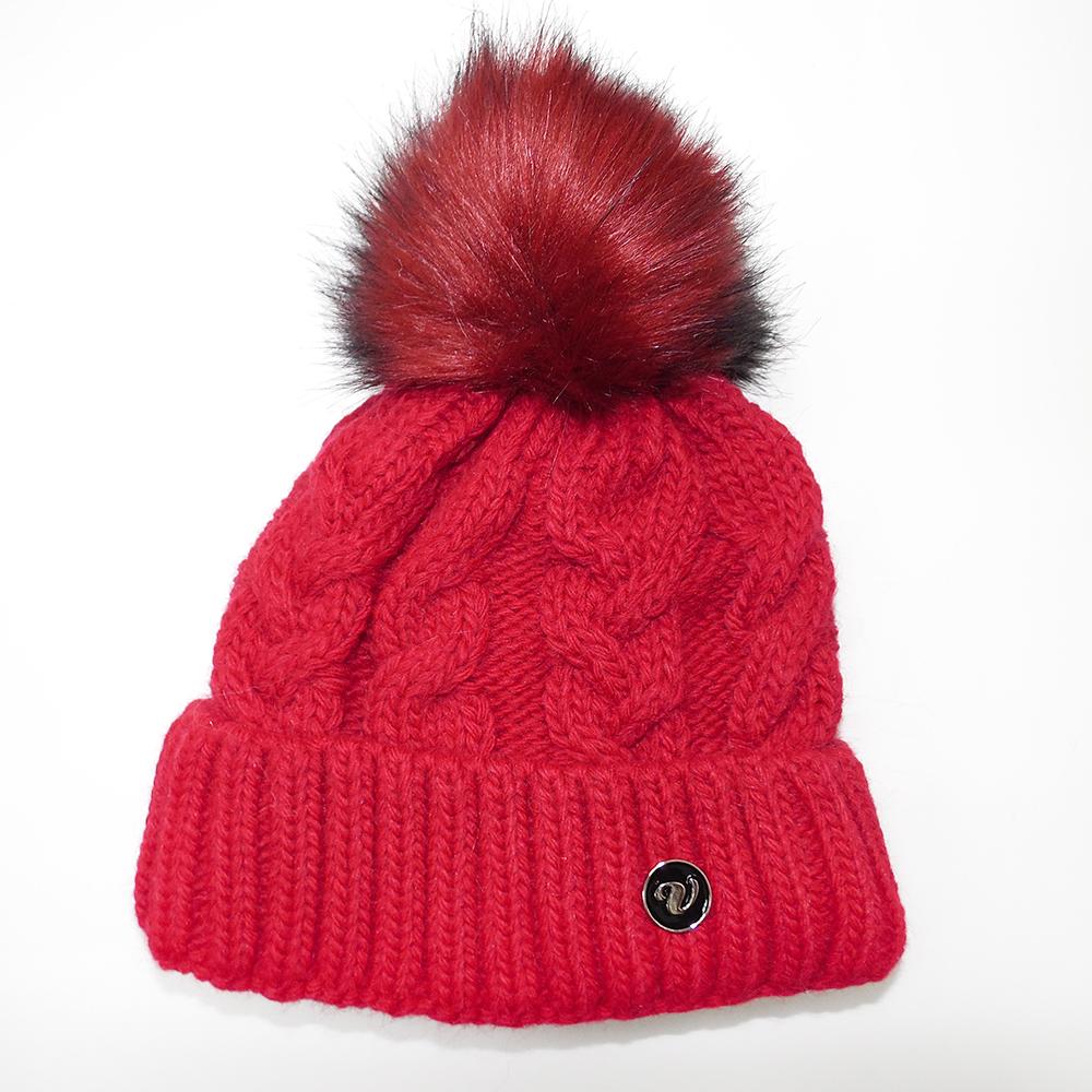 Pletené čepice s velkou chlupatou bambulí Veilo® červená 9178d735c5