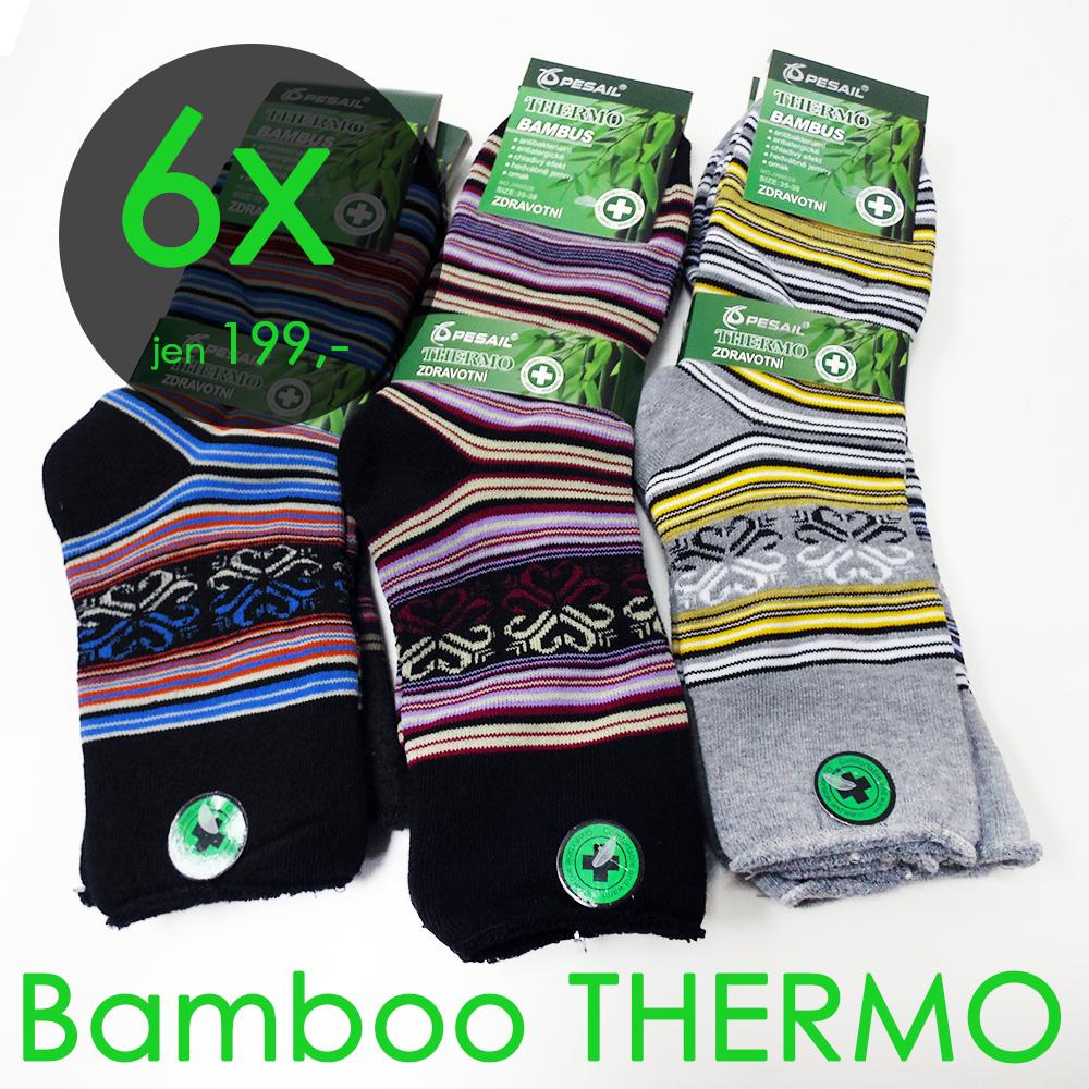 6 párů zdravotní funkční termo ponožky vysoké dámské 35-38 bambusové fe362c612d