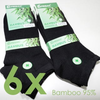 6 párů bambus ponožky 95% nízké černé 35-38 3c9a039e67