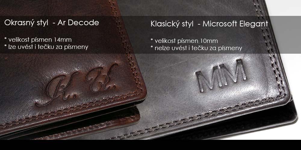 ražba monogramu na peněženku